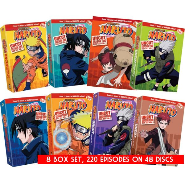 Naruto Uncut DVD Complete Series 1-4 Box Set
